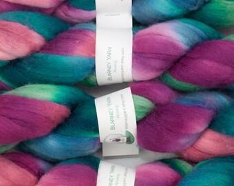 Handpainted Merino Wool and Tussah Silk Roving in Calypso II by Blarney Yarn
