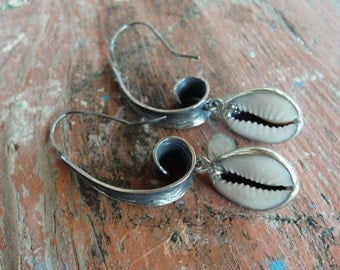 Cowry Shell Earrings - Sterling Silver Cowrie Seashell Jewelry
