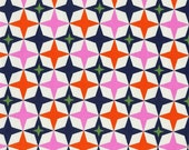 SALE (30) HALF Yard Cotton and Steel - Playful by Melody Miller - 0013-003 Bowling Alley Navy - Pink, Orange, Stars