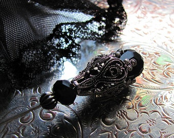 Ebony and Antique Chantilly Lace Victorian Hat Pin