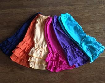 Triple Ruffle Capris, Girl Capris, Baby Capris, Toddler Capris. Boutique Clothing