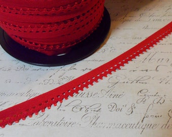 """Petite Cherry Red Elastic Trim with Ric Rac Edge Approx 1/2"""" width"""