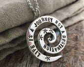 Hand Stamped Sterling Silver spiral pendant necklace