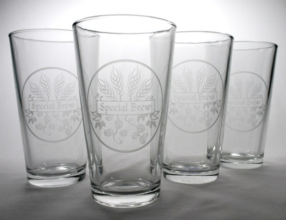 4 Special Brew Pint Glasses - homebrewer logo