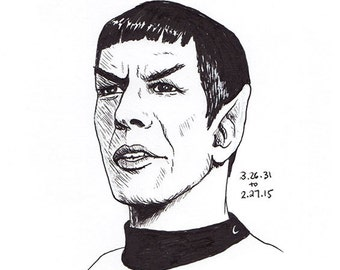 No.38.2 Leonard Nimoy / Original Artwork / Spock Drawing / Illustration / Daily Doodle / Art Print / Star Trek Lover