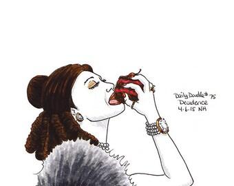 No.75 Decadence / Original Artwork / Illustration / Daily Doodle / Art Print / Beautiful Woman Eating Cake / Gorging on Chocolate Cake!