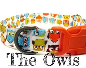 "Multicolor Owl Dog Collar - Organic Cotton - Antique Brass Hardware - ""The Owls"""