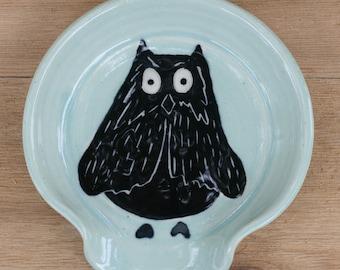 Owl Spoon rest in aqua