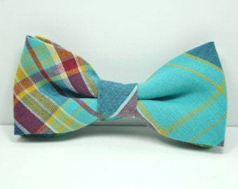 Aquamarine Plaid Boy's Bow Tie, Toddler Bowtie, Baby Bowtie, Blue Tie