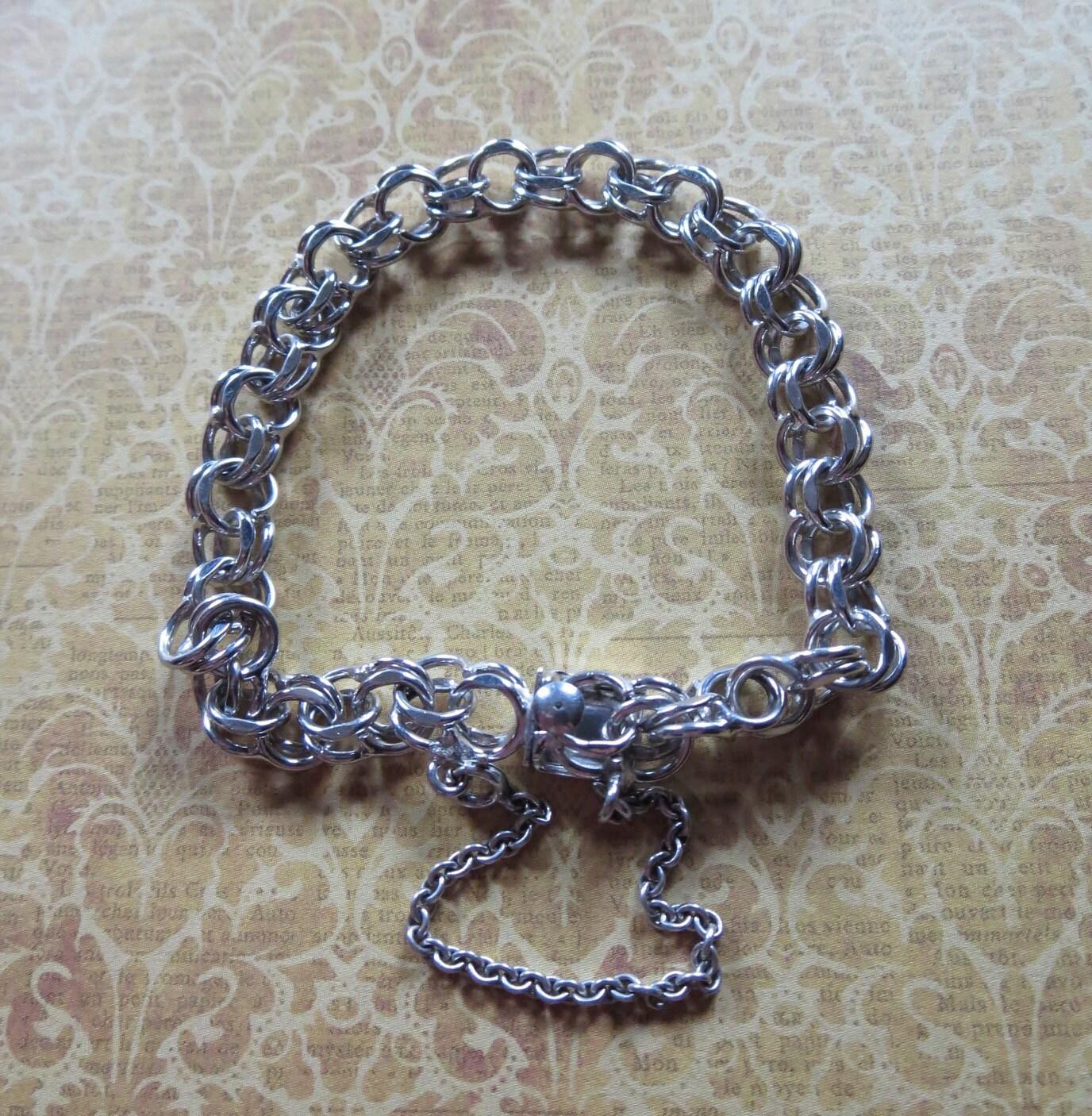 Starter Charm Bracelet: Vintage Double Link Sterling Silver Starter Charm Bracelet
