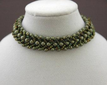 Sage Green Swarovski Pearls and Peacock-Colored Delica Flat Spiral Bracelet