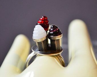 Cone Cluster Ring Made With Glass Swirls