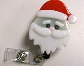Retractable Badge holder Fused Glass Santa Claus