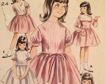 1960's Girl's Dress Pattern Vintage Butterick 3345  Dress, Jacket, Peplum and cummerbund size 6