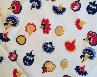 1950's Dressmaker Fabric - over 3 1/2 Yards -  Red, Blue and Yellow floral print