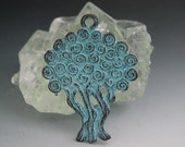 39mm Double Sided Tree of Life Pendant - Mykonos Greek Copper Antiqued Green Turquoise Naos