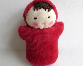 dark red, waldorf doll, pocket baby, waldorfdoll, waldorf toy, party favor for kids, small gift