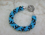 Black, Matte Aqua Blue Kumihimo Beaded Braid Bracelet with Hummingbird Clasp by All My Beads