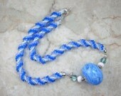 The Blues Kumihimo Beaded Braid Necklace with Blown Lampwork Bead Focal by All My Beads