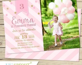 Pink and Gold Glitter Girls Birthday Invitation - Printable - 1st 2nd 3rd Birthday -Princess Birthday Invitation - Print Your Own Invites