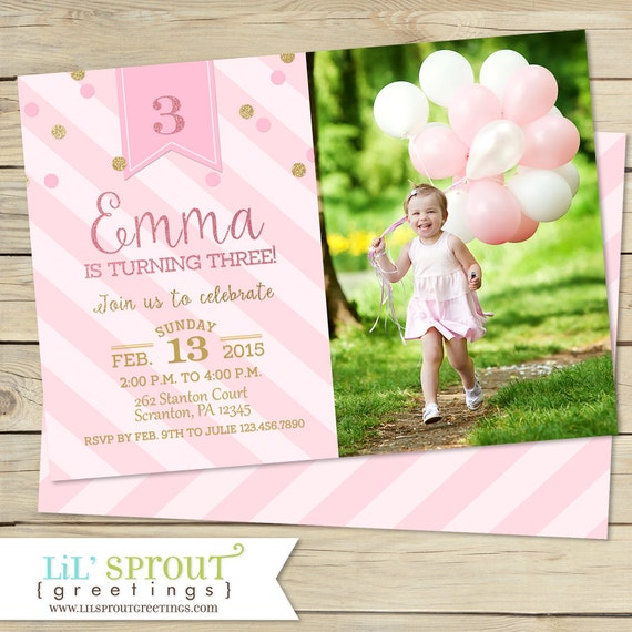 Pink and Gold Glitter Girls Birthday Invitation Printable 1st