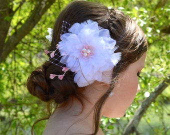 Pink and White Feather Bridal Wedding Hair Pin Clip Fascinator