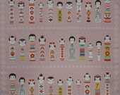 Furoshiki Fabric Pink 'Kokeshi Doll Collection' Cotton Japanese Fabric w/Free Shipping