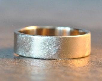 parker ring - men's wedding band in 14k white gold, organic brushed satin finish
