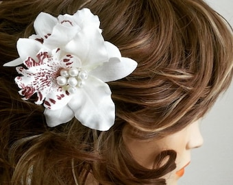 Bridal Hair Flower, Wedding Hair Fascinator, Pink Ivory Orchid Head Piece, Bridal Hair Accessories, HEIDE
