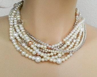 Bridal Necklace Set Wedding Necklace Set Wedding Necklace and Earrings Set Wedding Jewelry Set Pearl Rhinestone Crystal Jewelry Set