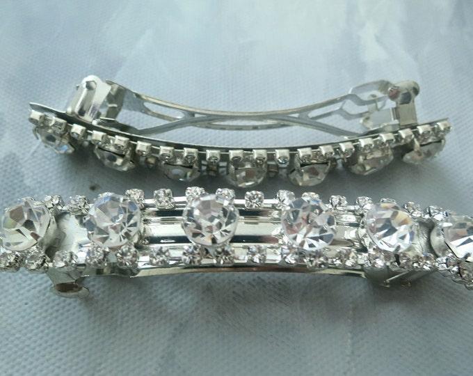Rhinestone Barettes Art Deco Wedding Hair Pins