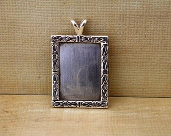Sterling Silver Picture Frame Pendant Blank
