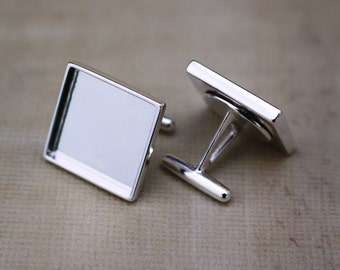 Sterling Silver Cuff Link Blanks with Square 16mm Bezel Cup - Men's Accessories- Cuff Link Findings - .925 premium quality