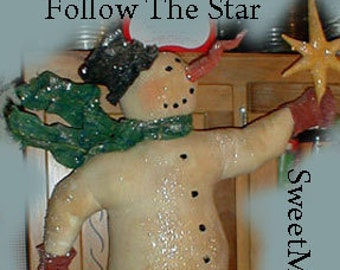 E-PATTERN Primitive Big Skating Snowman Follow the Star