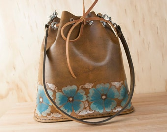 Bucket Bag - Leather Bucket Bag - Leather Handbag - Leather Purse - Leather Tote - Belle Pattern with wild roses - turquoise + antique brown