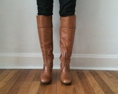 Vintage Size 7.5 Camel Colored Knee-high Leather Boots