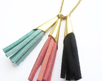 Raleigh Necklace: Long 14k yellow or white gold plate and suede tassel everyday, simple, chic, effortless necklace in teal, navy, pink, red.