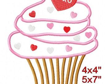 Cupcake Heart Sprinkles Valentine's Day Machine Applique Embroidery Pattern Design 4x4 5x7 6x10 7x11 INSTANT DOWNLOAD