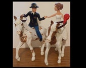 Riding Horses Wedding Cake Topper Figure set - Personalized to Look Like Bride Groom from your Photos