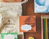 The Traveler Gift Set - Set of 3 notebooks, 3 magnets, 12 pencils, adventure gift, travel gift, traveler, adventurer, muslin bag, bulk gift