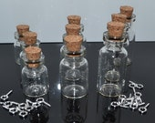 9 mini glass vial bottles for pendant or small storage
