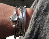 White onyx sterling silver bangle bracelet