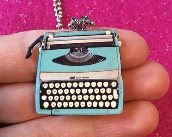 Typewriter Necklace, Shrink Plastic Unique Teal Handmade Wearable Art Writer