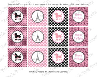Printable Paris Poodle Birthday Cupcake Toppers - Instant Download