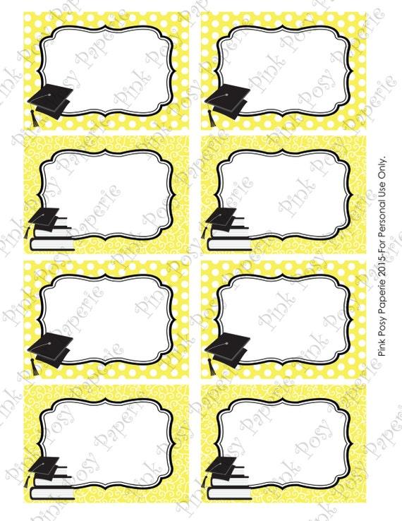 Items similar to Printable Yellow Graduation Food Labels