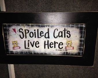 Spoiled cats live here sign personalized cat lover gift framed print