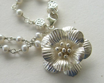 Sterling silver plum blossom  and fresh water pearl necklace