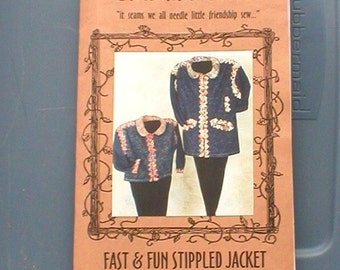 Cardinal Street Fast and Fun Stippled Jacket Pattern, uncut, sewing pattern, chenille collar, women's coat, denim jacket, designer coat