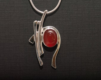 Sterling silver hand crafted carnelian pendant asymetrical necklace
