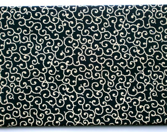 Japanese Fabric - Arabesque In Dark Blue Fabric - 1 Yard (F52) 100% Cotton  110 x 100 cm